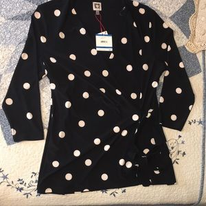 Anne Klein Faux Wrap-Style Top NEW WITH TAGS!